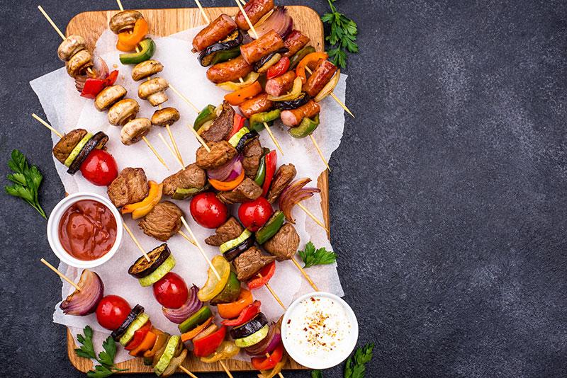 Turkish kebabs with tomato chilli sauce