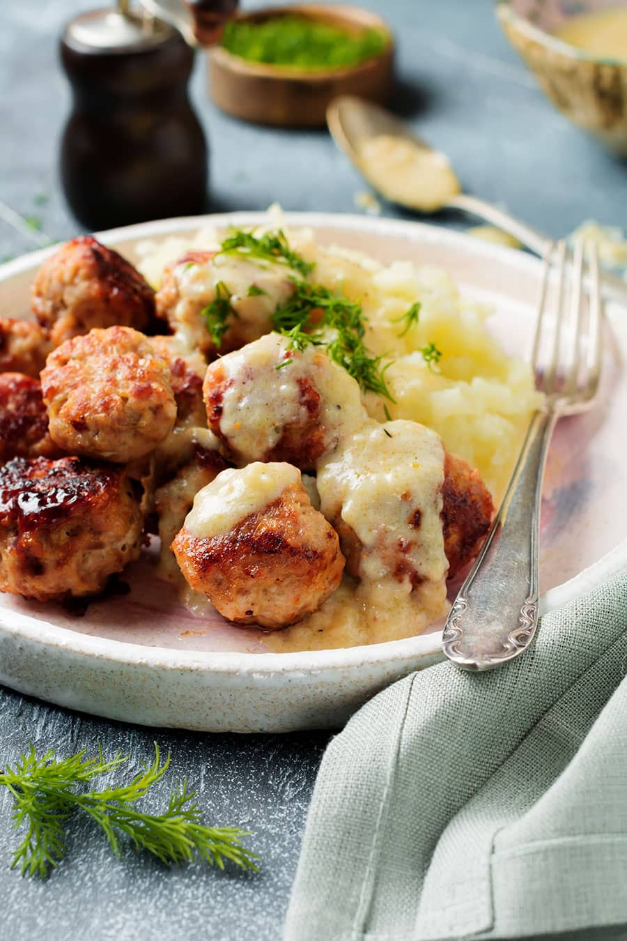 Romanian Meatballs with Sour Cream and Dill