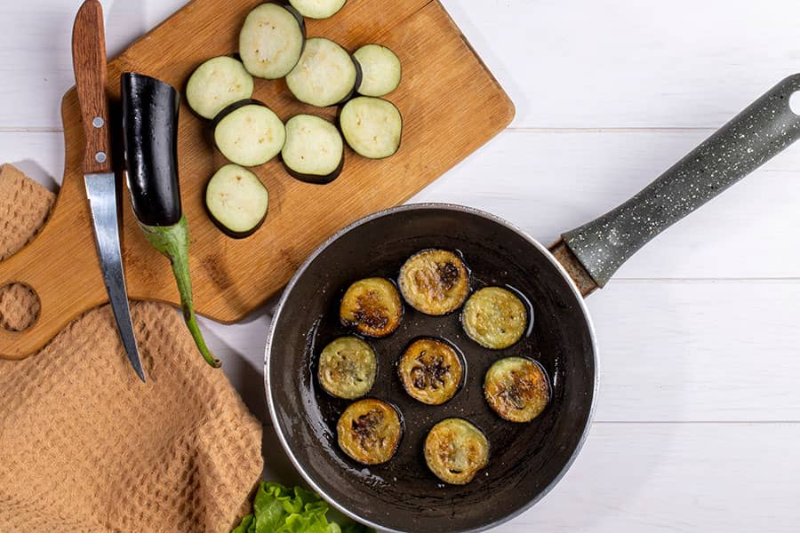 Albanian Fried Eggplant, and Zucchini served with cucumber yogurt