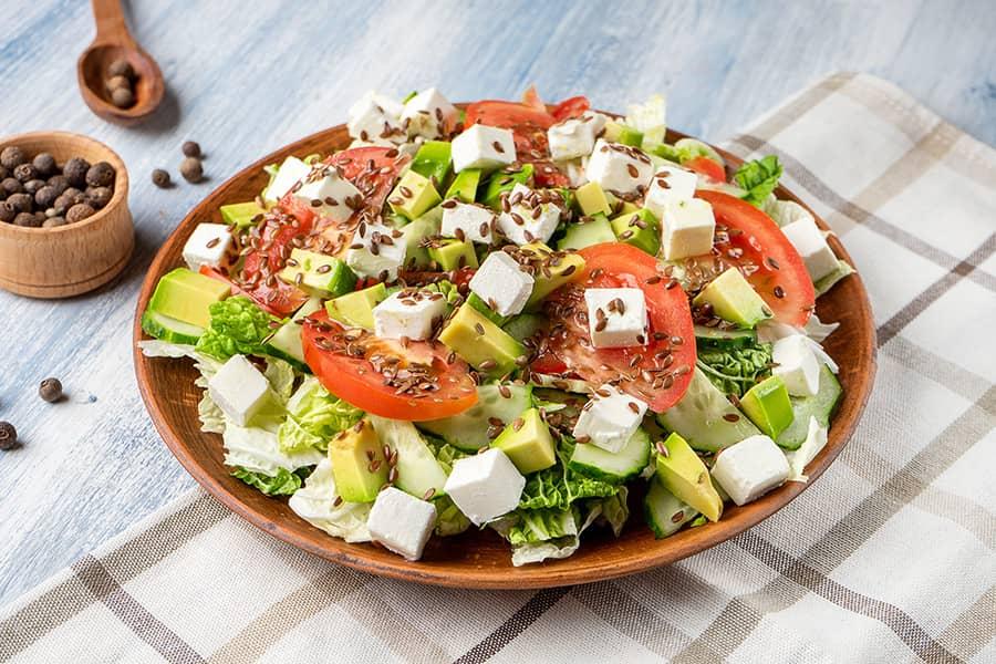 Fresh Asparagus Salad with Feta and Avocado