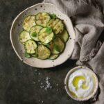 Zucchini with Dill and Garlic Yogurt Sauce