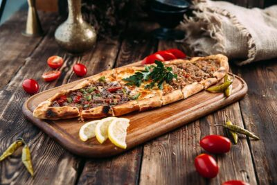 Turkish Pide with Feta and Tomato Recipe